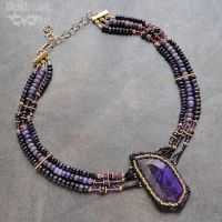 Beadwoven Collar With Vintage Sugalite by Beadmask
