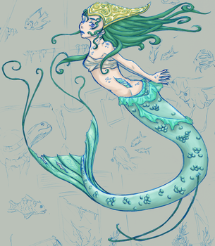 Mermaid - Work In Progress by Paperjetpilot