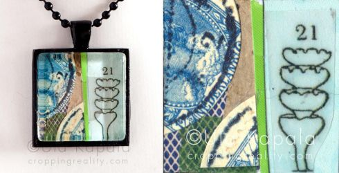 Wearable art - abstract collage pendant 5 by ukapala
