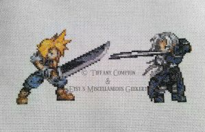 Cloud and Sephiroth cross stitch by Eisoptrophobic