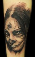 day of the dead freehand tatto by hatefulss