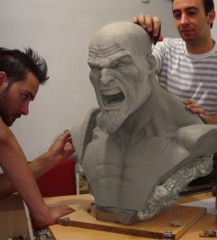 Kratos life size bust Wip by ddgcom