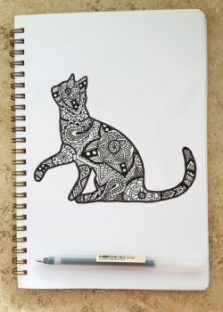 Inktober - Mandala Cat by Stop-wasting-time