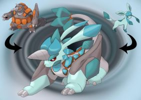 Rhyperior and Glaceon fusion