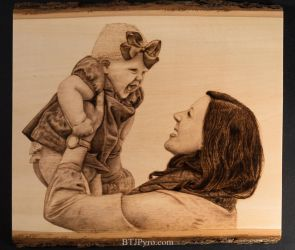 Pyrography Portrait of a Mother and Daughter by brandojones