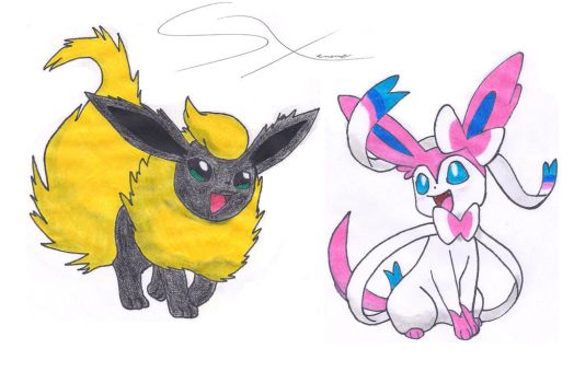 Sear the Flareon X Sylveon ((Request)) by Silverxtreme56