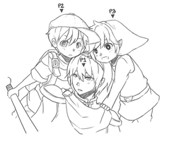 Ness, Marth, and Young Link by BottleWonderland