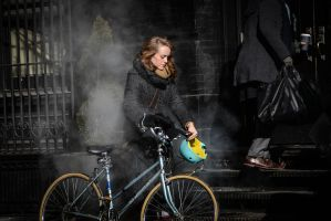 Portrait of Woman with Bike and Steam by IrynaFedorovska