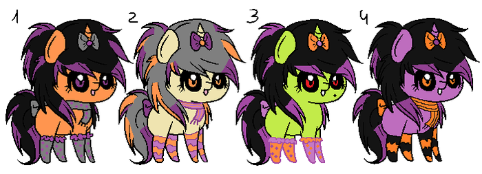 Cold Halloween~ Ribbon Pony Adoptables! by RhuenKun