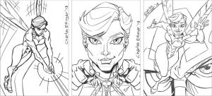the Wasp sketch card rough pencils by CharlesEttinger
