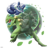 Sceptile-and-Mewstic by WHITE2701