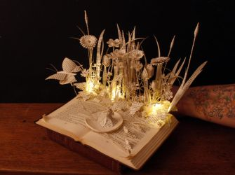 Thumbelina book sculpture and light by KarineDiot