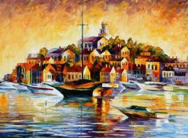 Town On The Hill by Leonid Afremov by Leonidafremov