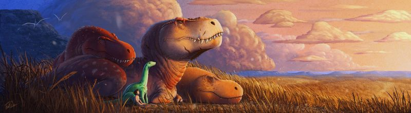 Dinosaur Sunset - The Good Dinosaur Fan Art by FredtheDinosaurman