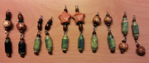 paper and wooden bead earrings by syn-O-nyms