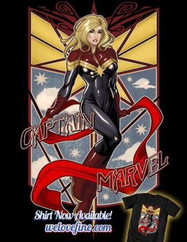 Captain Marvel Art Deco by ninjaink