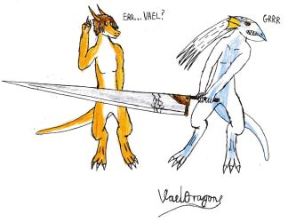 Me, Crazy, and a Great Knife by VaelDragon