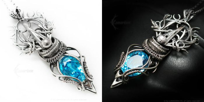 AMADERLIEELH Silver,blue zirconia and topaz by LUNARIEEN