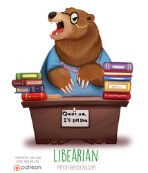 Daily Paint 1548. Libearian by Cryptid-Creations