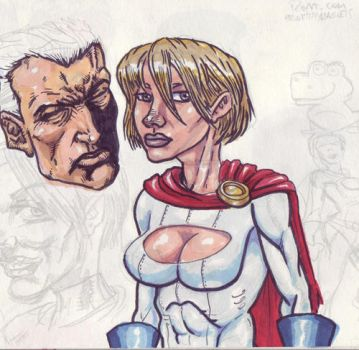 power girl and sketches by brickmickasso