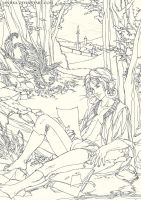 Farel in the woods - ink by saniika