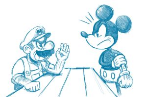 Mario vs Mickey by Bourrouet