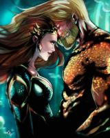 Variant Cover commission for Aquaman and Mera by watermelonkid