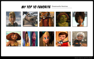 Top 10 Favorite Dreamworks Heroines by Hillygon