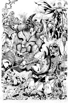DC Justice League vs SteppenWolf inks by JonasTrindade
