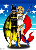 Batgirl and Power Girl by Flash-of-Lingt