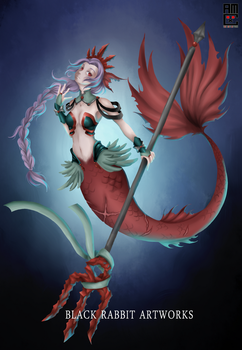 Knight Mermaid by blackrabbitartworks
