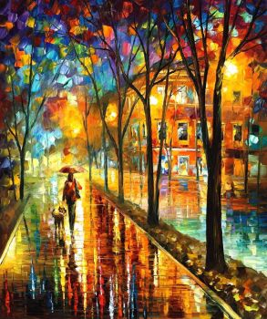 Walk With Dog by Leonid Afremov by Leonidafremov