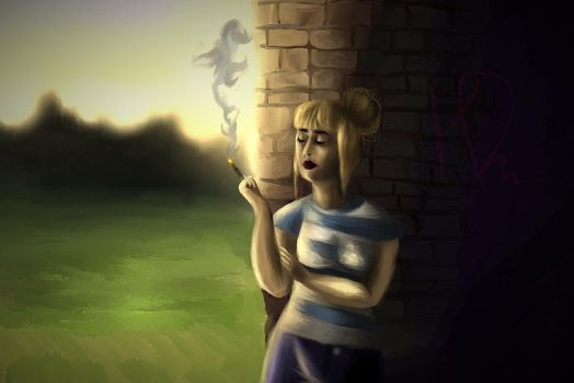Amelly is smoking by HelgaDi