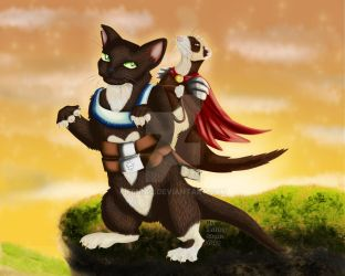 Ferret with cat steed by Fennic