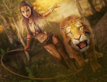 Sexy Cat Girl with Whip and Tiger, Fantasy 3D-Art by shibashake