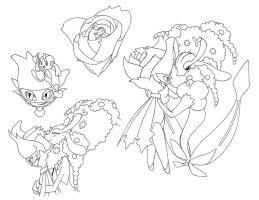 Flower couple Lineart by Megaloceros-Urhirsch