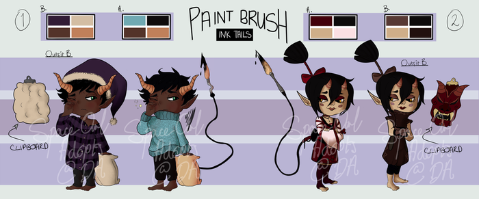 [OPEN][ITD] [AUCTION] Imp Paint Brush Tails [1/2] by SpaceOwlAdoptables