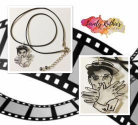 Sparkly Buster Keaton High Sign Necklace by Lovelyruthie