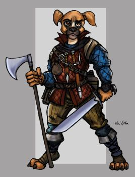 Boxer Dog Mercenary by TheLivingShadow