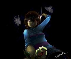 Frisk, Chara and Flowey - In good hands by AstreaPink