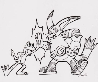 Inktober 2016 - [Hey Big Guy! Hey] Little [Guy!] by Sea-Salt