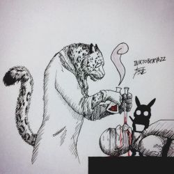 Inktober #22 - Trail/The Snow Leopard/Poisoned by tirmesaito