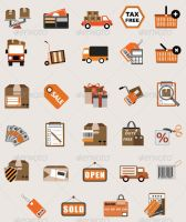 Flat Vector Business Shopping Icon Illustrations by CURSORCH