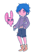Blue Haired Boy and Bunny (Gift) by SS-Lammy