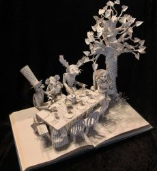 The Mad Hatter's Tea Party Book Sculpture by wetcanvas
