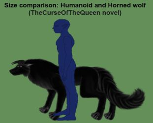 Size comparison: Humanoid and Horned wolf by LadyAlluvia