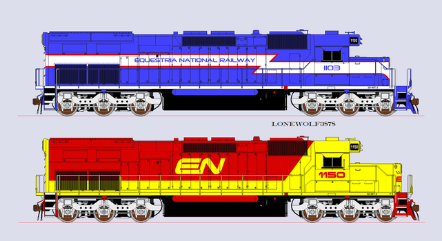 Equestria National Railway SD-40T-2's by lonewolf3878