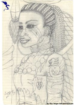 Angelic Warrior Woman (Old Pencil Drawing) by The-Blue-Dragon-Lord