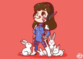 D.Va Defender of Bunnies by magnumunyu