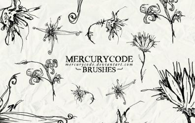 Brushset 01: scribble flowers by mercurycode